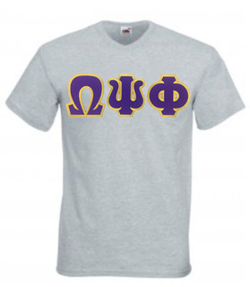 DISCOUNT- Omega Psi Phi Lettered V-Neck T-Shirt