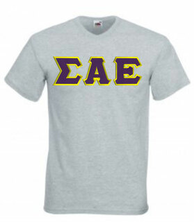DISCOUNT- Sigma Alpha Epsilon Lettered V-Neck T-Shirt