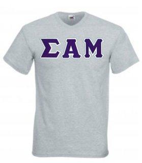 DISCOUNT- Sigma Alpha Mu Lettered V-Neck T-Shirt