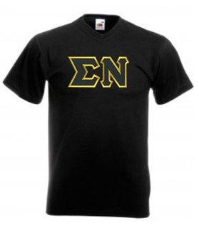DISCOUNT- Sigma Nu Lettered V-Neck T-Shirt