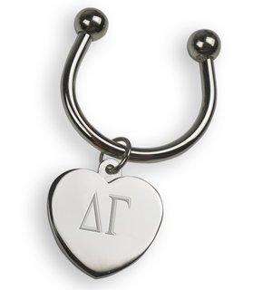 Delta Gamma Silver Heart Keyring