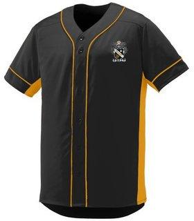 DISCOUNT-Sigma Nu Fraternity Crest - Shield Slugger Baseball Jersey