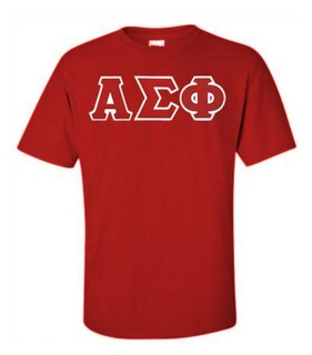 DISCOUNT Alpha Sigma Phi Lettered T-shirt