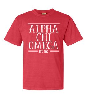Alpha Chi Omega Comfort Colors Custom Heavyweight T-Shirt