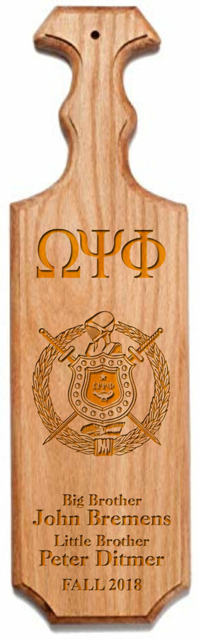 Omega Psi Phi Traditional Greek Paddle