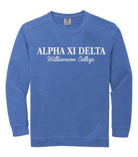 Alpha Xi Delta Script Comfort Colors Greek Crewneck Sweatshirt
