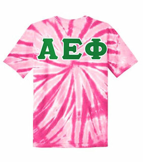 DISCOUNT-Alpha Epsilon Phi Lettered Tie-Dye t-shirts for only $25!