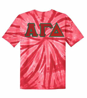 DISCOUNT-Alpha Gamma Delta Lettered Tie-Dye t-shirts for only $25!