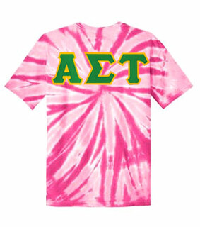 DISCOUNT-Alpha Sigma Tau Lettered Tie-Dye t-shirts for only $25!