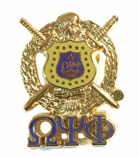 Omega Psi Phi 3D Gold Shield with Letters Pin