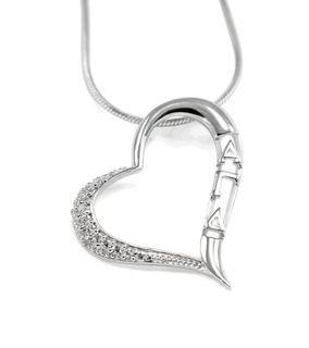 Alpha Gamma Delta Sterling Silver Heart Pendant with CZ diamonds
