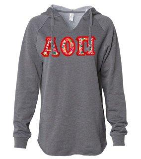 Alpha Omicron Pi Women's Lightweight California Wavewash Hooded Pullover Sweatshirt