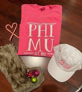 The New Super Savings - Phi Mu Long Sleeve Tee and Baseball Hat Set - WHITE AND PINK