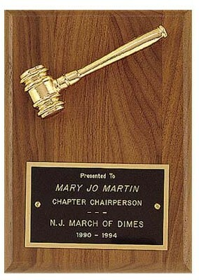 Fraternity & Sorority Plaque w/ goldtone gavel