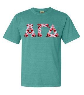 Alpha Gamma Delta Comfort Colors Lettered Greek Short Sleeve T-Shirt