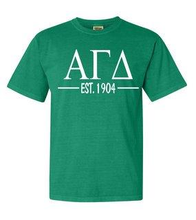 Alpha Gamma Delta Custom Greek Lettered Short Sleeve T-Shirt - Comfort Colors