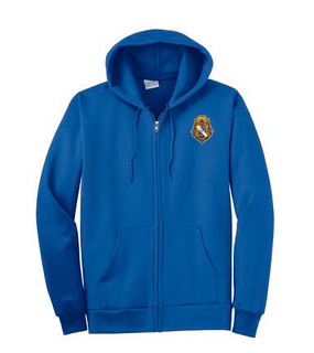 DISCOUNT-Alpha Phi Omega Crest - Shield Patch Full Zippered Hoody