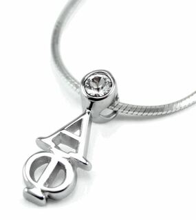 Alpha Phi Sterling Silver Lavaliere Pendant with Swarovski Clear Crystal