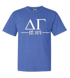 Delta Gamma Custom Greek Lettered Short Sleeve T-Shirt - Comfort Colors