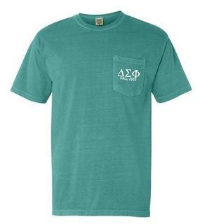 Delta Sigma Phi Greek Letter Comfort Colors Pocket Tee