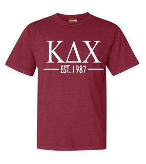 Kappa Delta Chi Custom Greek Lettered Short Sleeve T-Shirt - Comfort Colors