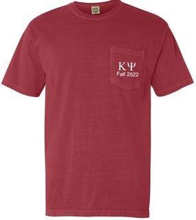 Kappa Psi Greek Letter Comfort Colors Pocket Tee