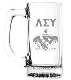 Lambda Sigma Upsilon 13 oz Glass Engraved Mug