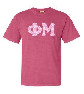 Phi Mu Comfort Colors Lettered Greek Short Sleeve T-Shirt