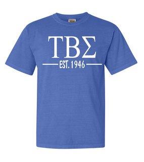 Tau Beta Sigma Custom Greek Lettered Short Sleeve T-Shirt - Comfort Colors