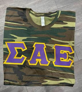 The New Super Savings - Sigma Alpha Epsilon Lettered Camouflage T-Shirt - CAMO