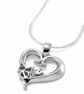 Alpha Phi Sterling Silver Heart Pendant with Swarovski Clear Crystal