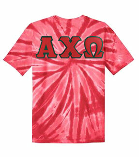 DISCOUNT-Alpha Chi Omega Lettered Tie-Dye t-shirts for only $25!