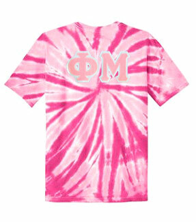 DISCOUNT-Phi Mu Lettered Tie-Dye t-shirts for only $25!