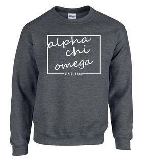 Alpha Chi Omega Script Box Crewneck Sweatshirt