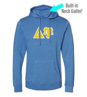 Delta Upsilon Lettered Gaiter Fleece Hooded Sweatshirt