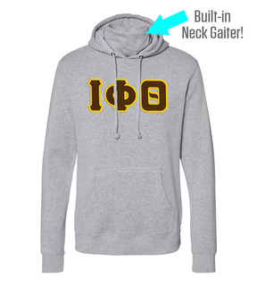 Iota Phi Theta Lettered Gaiter Fleece Hooded Sweatshirt
