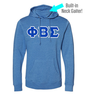 Phi Beta Sigma Lettered Gaiter Fleece Hooded Sweatshirt