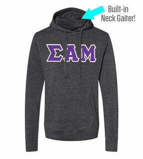 Sigma Alpha Mu Lettered Gaiter Fleece Hooded Sweatshirt