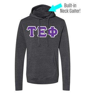Tau Epsilon Phi Lettered Gaiter Fleece Hooded Sweatshirt