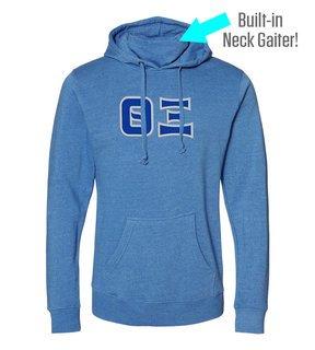 Theta Xi Lettered Gaiter Fleece Hooded Sweatshirt