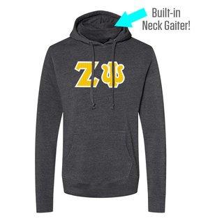 Zeta Psi Lettered Gaiter Fleece Hooded Sweatshirt