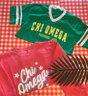 The New Super Savings - Chi Omega Crewneck and Tee Set - WATERMELON AND GREEN