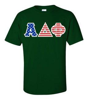 Alpha Delta Phi Greek Letter American Flag Tee