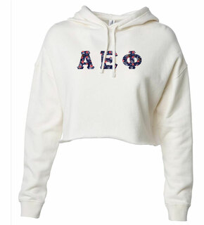 Alpha Epsilon Phi Lightweight Hooded Pullover Crop Sweatshirt
