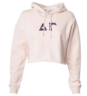 Delta Gamma Lightweight Hooded Pullover Crop Sweatshirt