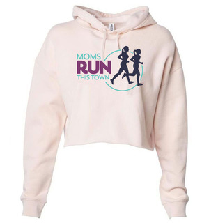 Moms Run This Town Triblend Cropped Long Sleeve Hoodie