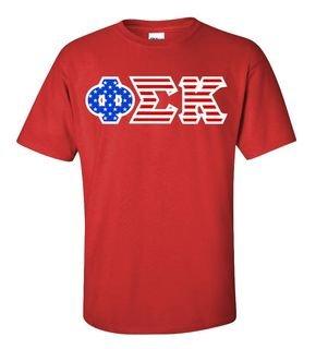 DISCOUNT-Phi Sigma Kappa Greek Letter American Flag Tee