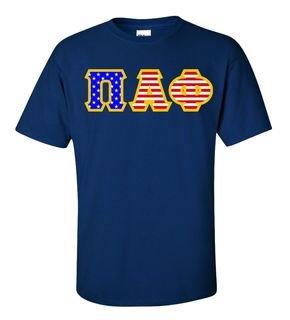 Pi Alpha Phi Greek Letter American Flag Tee