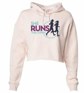 She Runs This Town Triblend Cropped Long Sleeve Hoodie