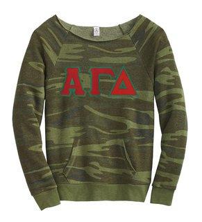 DISCOUNT-Alpha Gamma Delta Maniac Camo Fleece Sweatshirt